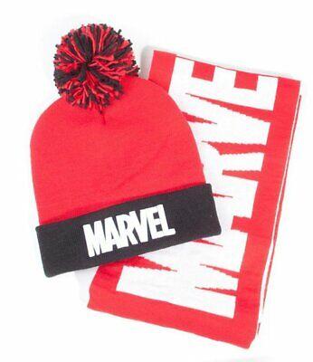 Capuchón Y Bufanda Marvel Logo Pom Gorro & Bufanda Set Rojo /Black...