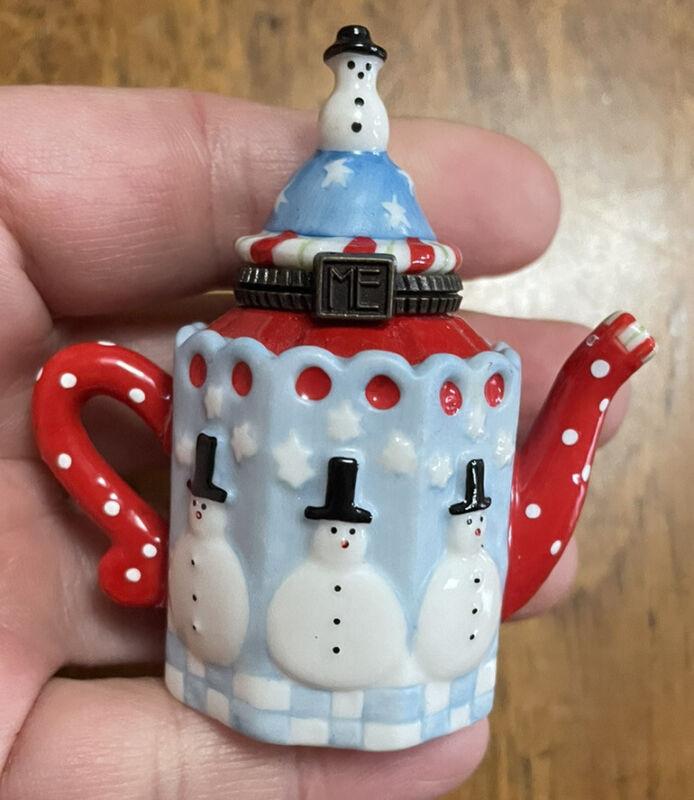 Mary Engelbreit ME small mini snowman trinket box teapot hinged lid ENESCO