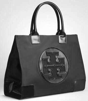 NEW Authentic Tory Burch Ella Nylon Patent Logo Tote Bag Black EXTRA LARGE
