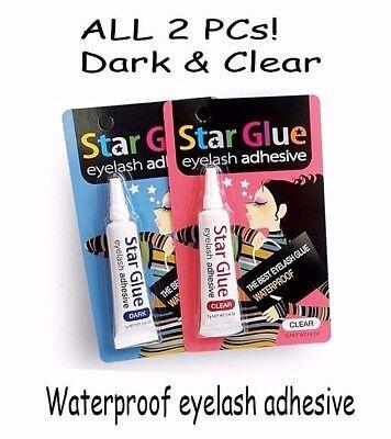 STAR GLUE Eyelash Adhesive -2 pcs Dark & Clear -the Best Waterproof Eyelash