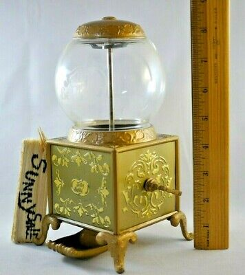 Vintage Jelly Belly Gold Mini Gumball Machine Jelly Bean Dispenser Coinless 8