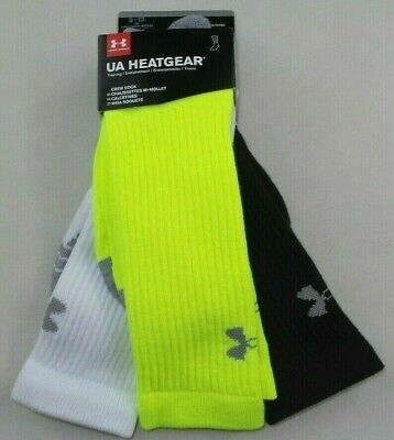 Under Armour Men's Crew Socks 3 Pack 8-12 L Black Lime White Heatgear Training
