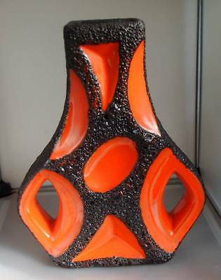 "Roth Vase Keramik ""Guitar"" 70er Jahre orange Orig. Label"