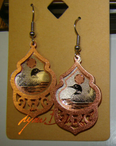 LYNN BEAN Brass Wire Pierced LOON EARRINGS New In Package