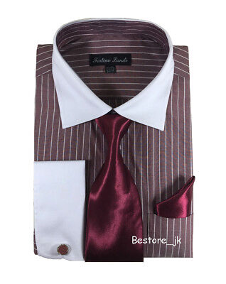 Formal Shirts Ties - Men's Striped Formal Dress Shirt w/ French Cuff Links,Tie and Hanky #17