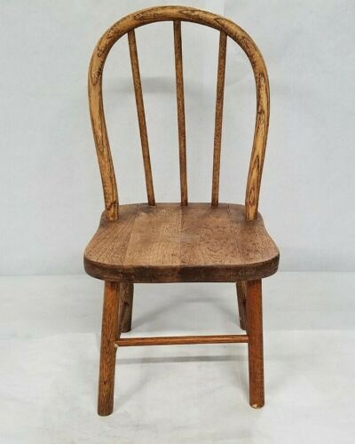 "Vintage Antique Rustic Hardwood Doll Chair 18"" High with Tongue & Groove Seat"