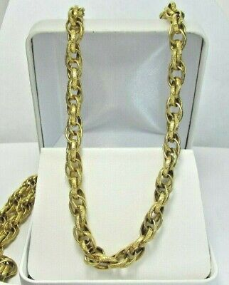"Estate 12K YG GF 30"" Cable Chain Necklace 47.1 Grams 5.9 MM Wide"