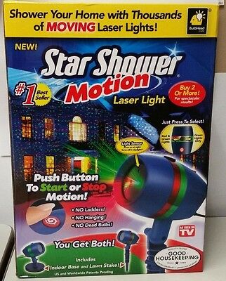 Star Laser Christmas Red Green Light Shower Motion Activator NEW IN OPEN BOX