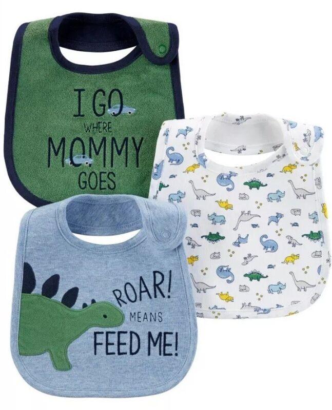 NWT BABY BOY WATER RESISTANT 3 PACK OF BIBS- DINOSAURS