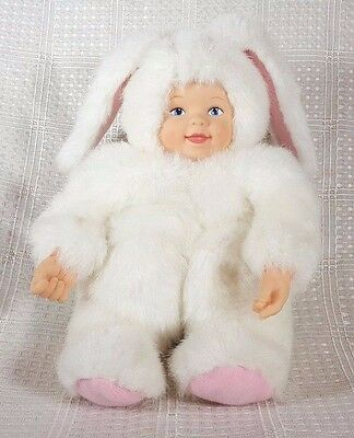 Anne Geddes White Bunny Baby Plush w/Porcelain Face Hands 8""