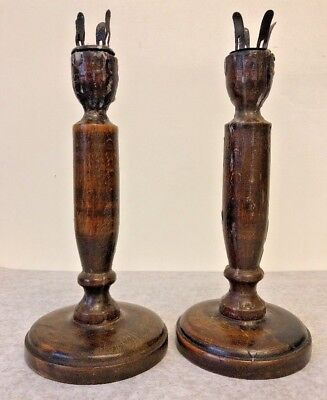 1900's Matching Pair Wooden Candle Stick Holders