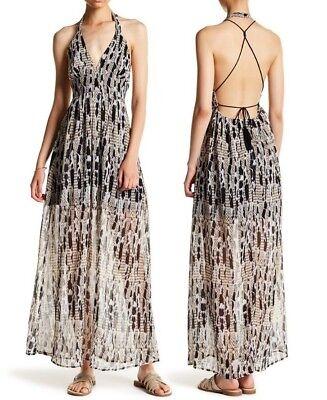 Jack by BB Dakota Willow Halter Open Back Printed Chiffon Maxi Dress Size 8 - Willow Dress