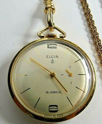 ANTIQUE ELGIN FOB CHAIN POCKET WATCH 19'J PENDANT WATCH 10K GOLD F. CAL. 732 RUN