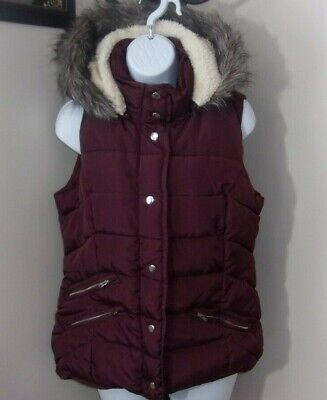 Ci Sono Original Zip & Snap Women's Maroon Vest Size Large Removable Hood