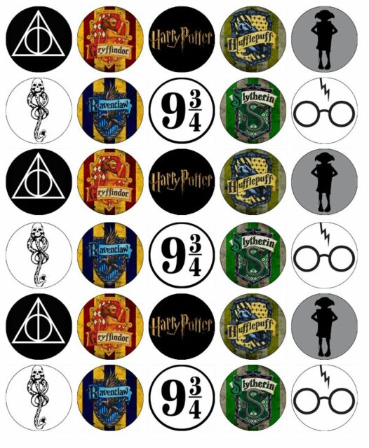 30 X Harry Potter Symbols Edible Cupcake Toppers Wafer Paper Fairy