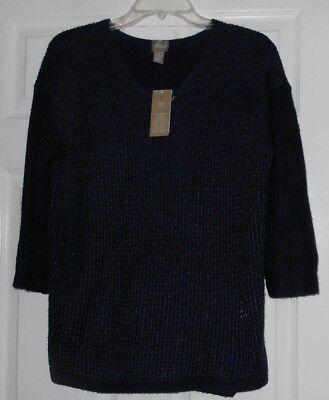 Chicos Apparel Willa V Midnight Navy  V Neck Pull Over Sweater Size 1 M  Nwt