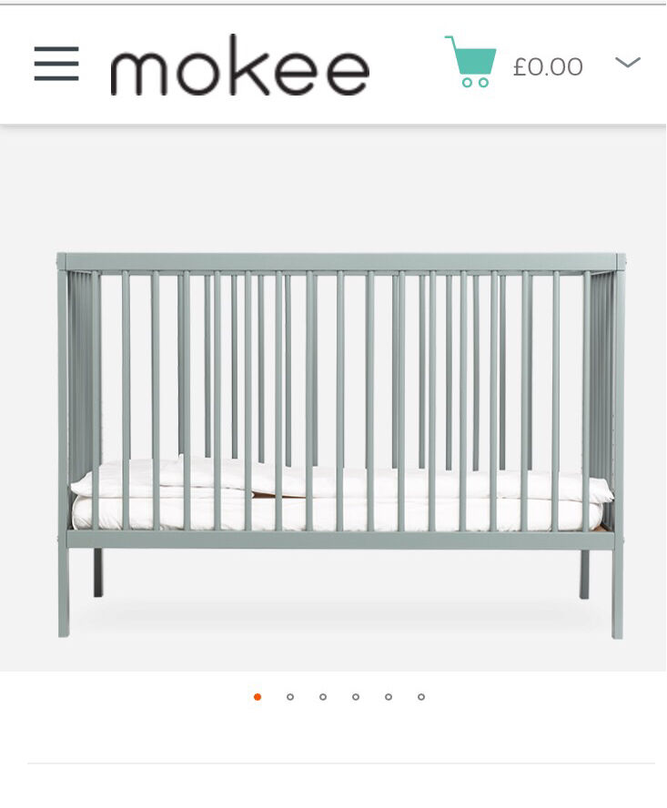 brand new mokee cot bed with aloe vera mattress in stone teal colour