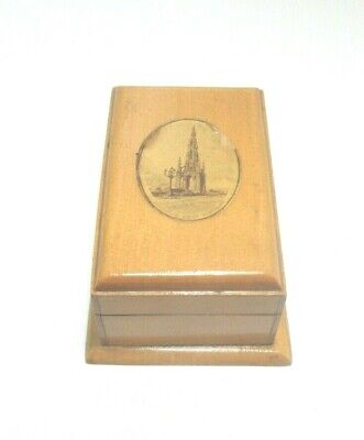 ANTIQUE MAUCHLINE SMALL WOODEN  BOX EDINBURGH SCOTT MONUMENT  TRANSFER WARE
