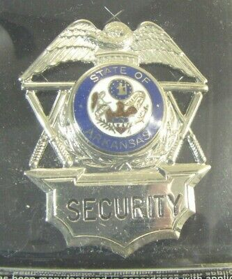 Obsolete New Ira Green Premium Security Officer Badge Shield Arkansas Seal 2a3