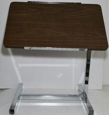 Vtg Mobilaidinvacare Industrial Abbey Medical Tilt-top Overbed Rolling Table