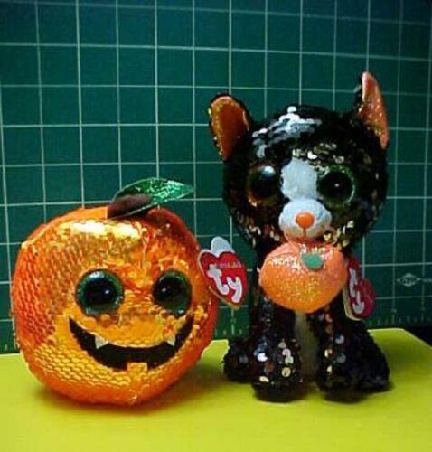 🍂 Halloween Sequins Black Cat & Orange Jack o Lantern