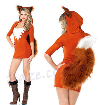 Damen Sexy Fox Kostüm Tier Cosplay Party Kostüm Hallween - Orange Fox Kostüm