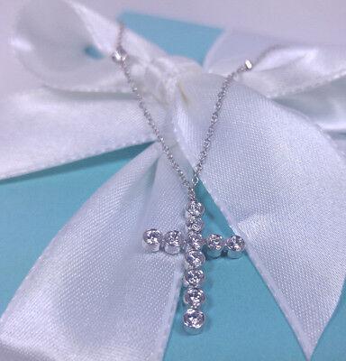 NEW Tiffany & Co. Bezel Cross Diamond Pendant Platinum PT 950 Necklace 16 IN