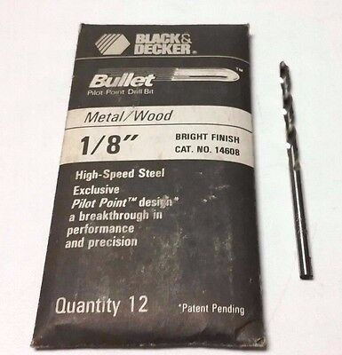 Black and Decker Bullet Drill Bits 1/8 Inch Pilot Point Bright Finish Set of 12