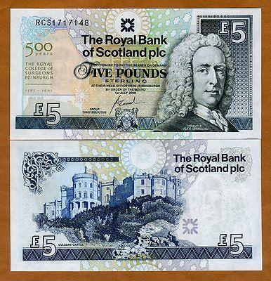Scotland Royal Bank  5 Pounds  2005  P 364  Unc  Commemorative 500 Years Rcs
