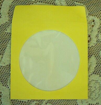 1000 5 Yellow Cd Dvd Paper Sleeve Window Flap Js204