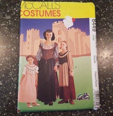 McCalls 8449 Misses Renaissance Medievel Dress Costume Large Sizes 16-18 Uncut