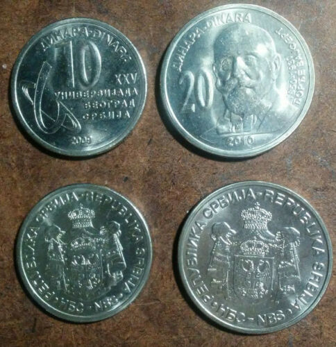 SERBIA FIVE DIFFERENT CURRENT UNCIRCULATED HIGH-VALUE COINS, 10 TO 20 DINARA