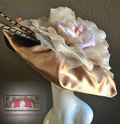 Rose Big KENTUCKY Derby Hat Contest Gold Light Mauve Vanilla Cream Black Del Mar