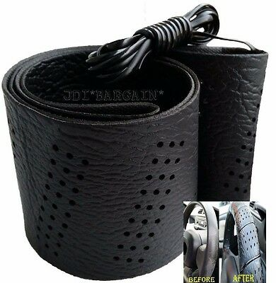 Black Car Van Steering Wheel Cover Leather Look Soft Grip Lace Up DIY
