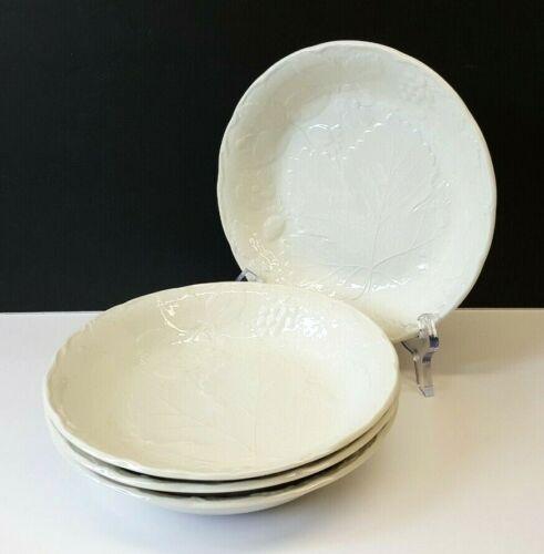 """Set/4 Burgess & Leigh Burleigh Davenport 7⅞"""" Soup Bowls Strawberry & Grape Leaf"""