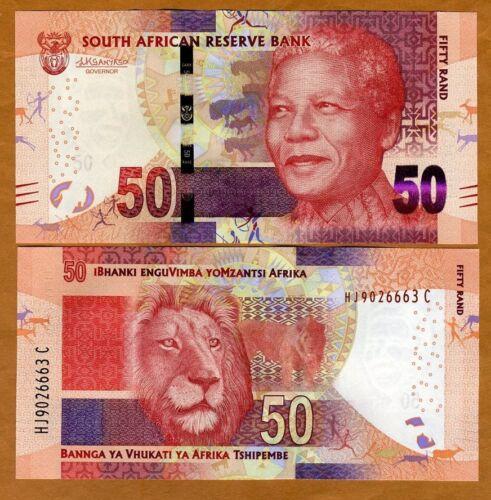 South Africa, 50 rand, ND (2015), P-138-NEW, Sign. Kganyago UNC > Mandela, Lion