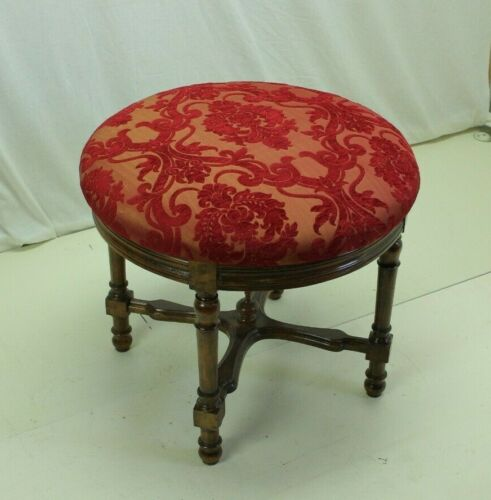 French 19th Century Red, Round Carved Stool/Bench