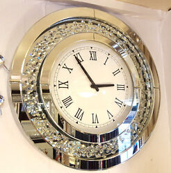 Modern Floating Crystals Bevelled Mirror Glass Round Wall Clock 50cm Silver