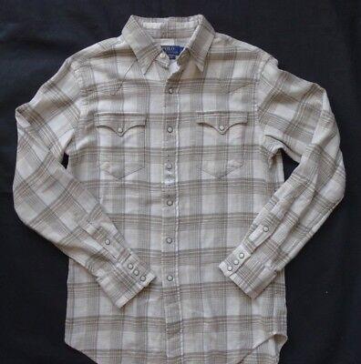 Tan Plaid Shirt (Polo Ralph Lauren Classic Fit Plaid Western Shirt Natural/Tan Gr S)