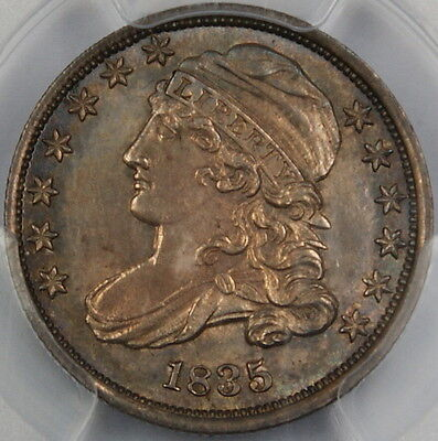 Click now to see the BUY IT NOW Price! 1835 ELIASBERG CAPPED BUST SILVER DIME-PCGS MS-63 TONED JR-1- CHOICE BU