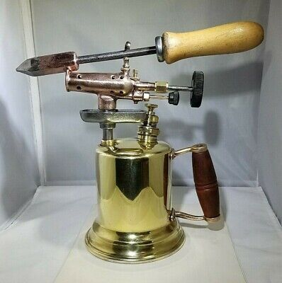 Vintage Brass Gasoline Blow Torch with Soldering Iron-Man Cave- Steampunk Decor