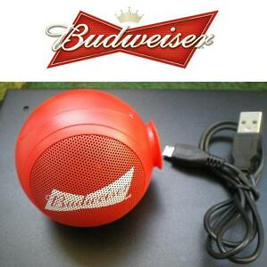 NEW BUDWEISER BLUETOOTH SPEAKER MINI ROUND RED SPEAKER - CONNECTABLE 94673260