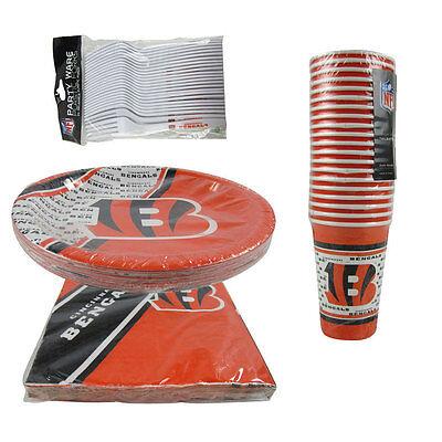 Cincinnati Bengals Party Supplies (New NFL Cincinnati Bengals 80pc Paper Plates Cups Forks Napkins Party)