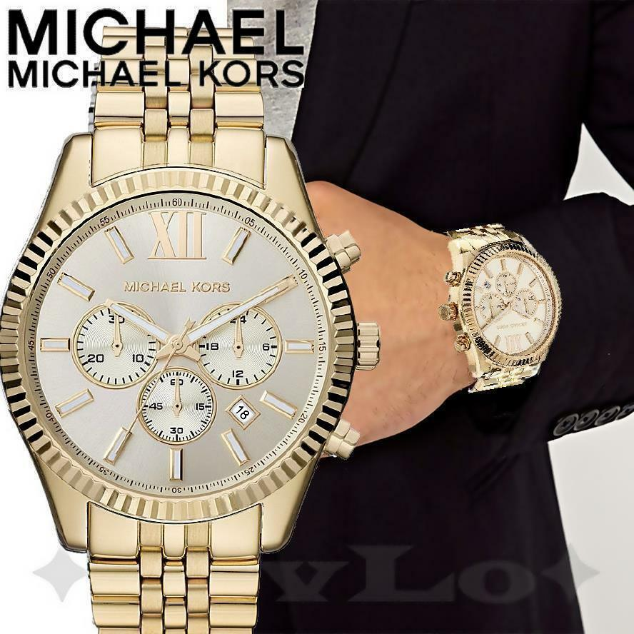 Michael Kors Herrenuhr Mk5605 Chronograph 3131 Original Uhr Mk8281 Lexington Chrono Farbegold Neu
