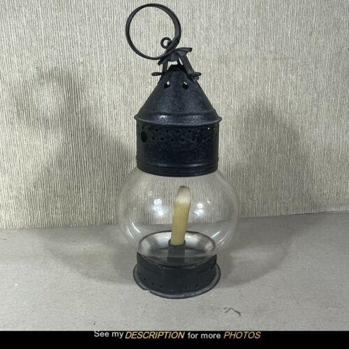 Antique Primitive Candle Lantern Star & Diamond Tin Cutout Top Blown Ball Globe