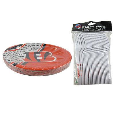 Cincinnati Bengals Party Supplies (New NFL Cincinnati Bengals 40pc Disposable Plates & Forks Party-Ware)