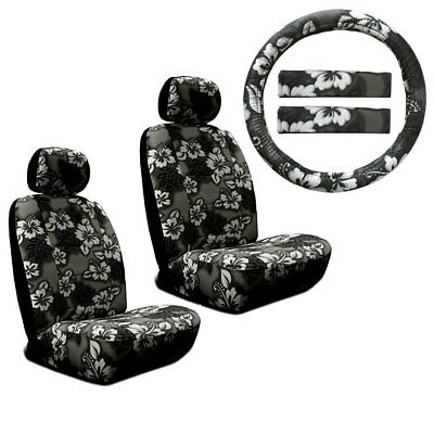 New Black Hawaiian Flower Hibiscus Car Front Seat Covers & Steering Wheel Cover