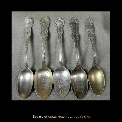 5 Antique 1902 Sterling Silver Colorado Souvenir Spoons