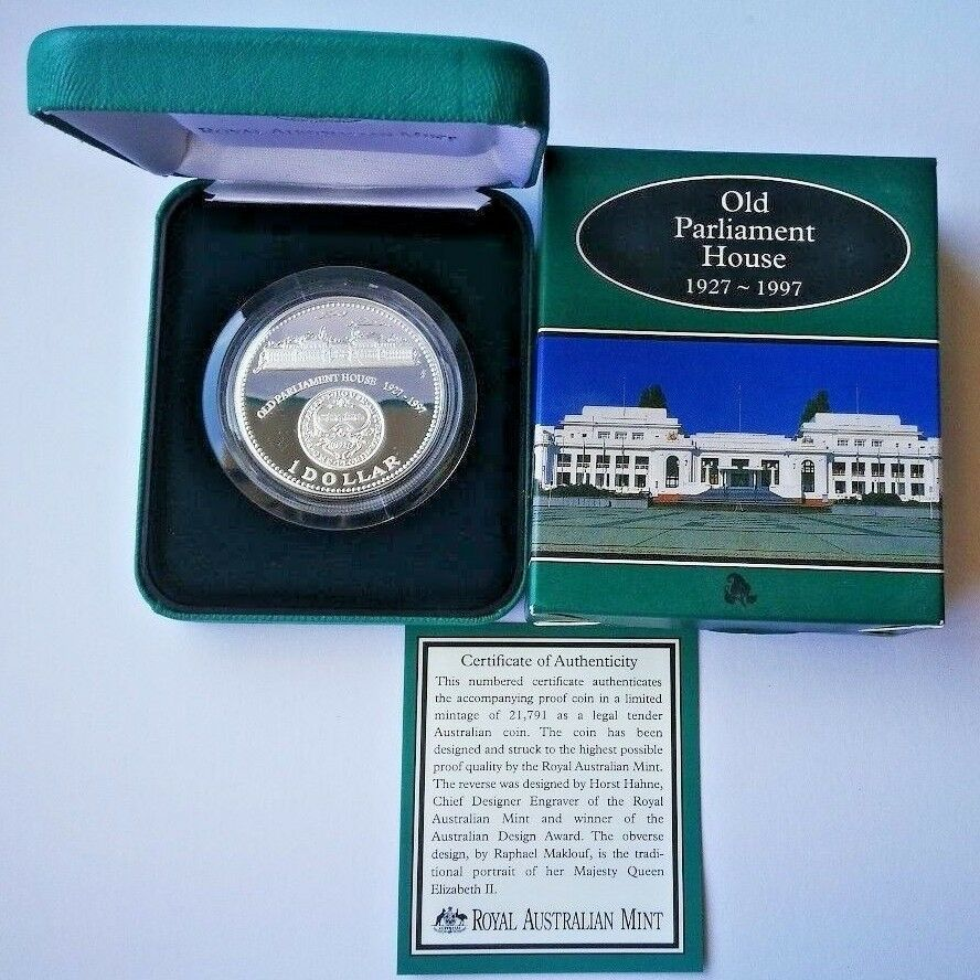 Royal Australian Mint 1997 Old Parliament House $1 1oz Silver Proof Coin