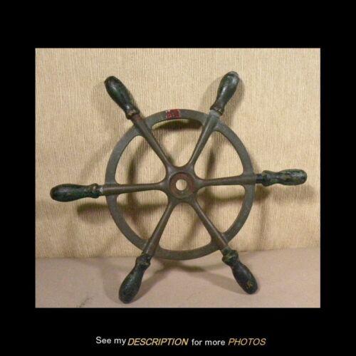 "Antique 1906 Brass & Wood Ships Wheel 15-1/2""Dia"